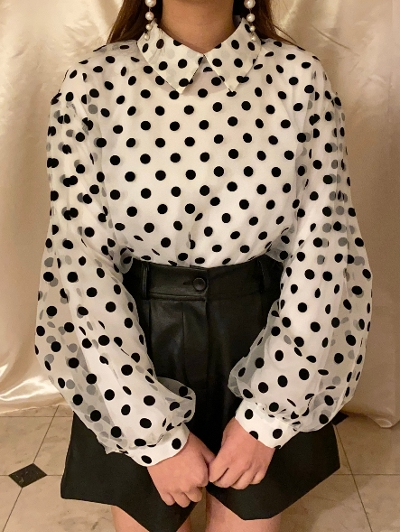 【Re Arrival】sheer dot blouse[saya select]