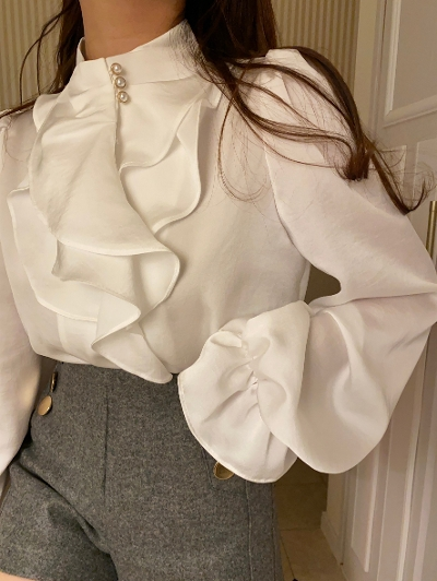 【Re Arrival】classic ruffle blouse[saya select]